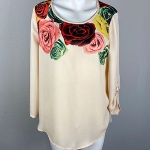 Skies Are Blue Floral Blouse Top Size Medium